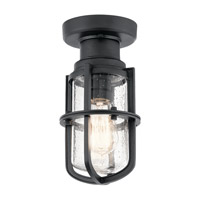 Suri 1 Light 6 inch Textured Black Outdoor Flush Mount