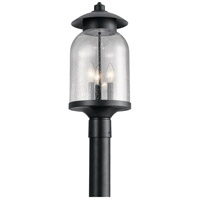 Kichler 49885DBK Hugo 3 Light 20 inch Distressed Black Outdoor Post Lantern