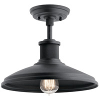 Kichler 49982BKT Allenbury 1 Light 12 inch Textured Black Semi Flush Mount Ceiling Light, Convertible