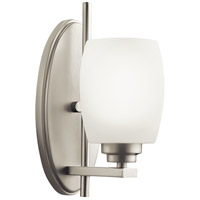 Kichler 5096NI Eileen 1 Light 5 inch Brushed Nickel Wall Sconce Wall Light in Umber Etched Glass, Standard