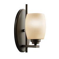Kichler 5096OZ Eileen 1 Light 5 inch Olde Bronze Wall Sconce Wall Light in Umber Etched Glass, Standard