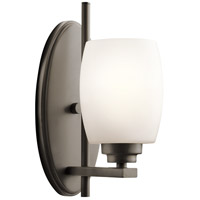 Kichler 5096OZS Eileen 1 Light 5 inch Olde Bronze Wall Bracket Wall Light in Satin Etched Cased Opal, Standard