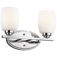 Kichler 5097CH Eileen 2 Light 14 inch Chrome Bath Vanity Wall Light in Umber Etched Glass, Standard
