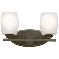 Kichler 5097OZS Eileen 2 Light 14 inch Olde Bronze Vanity Light Wall Light in Satin Etched Cased Opal, Standard