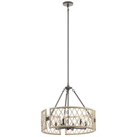 Kichler 52077WWW Oana 6 Light 25 inch White Washed Wood Chandelier Round Pendant Ceiling Light