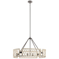 Kichler 52078WWW Oana 6 Light 15 inch White Washed Wood Chandelier Oval Pendant Ceiling Light