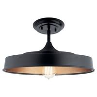 Kichler 52098BK Elias 1 Light 16 inch Black Semi Flush Light Ceiling Light