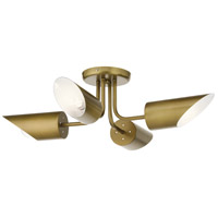 Kichler 52164NBR Trentino 4 Light 28 inch Natural Brass Semi Flush Light Ceiling Light