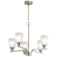 Kichler 52231NI Skagos 5 Light 22 inch Brushed Nickel Chandelier Ceiling Light 1 Tier Small