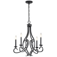 Kichler 52239BK Ania 4 Light 23 inch Black Chandelier Ceiling Light 1 Tier Small