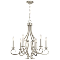 Kichler 52240NI Ania 6 Light 26 inch Brushed Nickel Chandelier Ceiling Light Medium
