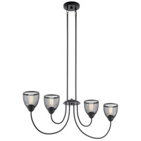 Kichler 52273BK Voclain 4 Light 7 inch Black Chandelier Linear Ceiling Light, Single photo thumbnail