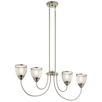 Kichler 52273NI Voclain 4 Light 7 inch Brushed Nickel Chandelier Linear Ceiling Light Single