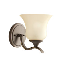 Kichler 5284OZ Wedgeport 1 Light 6 inch Olde Bronze Wall Sconce Wall Light in Umber Etched Glass photo thumbnail