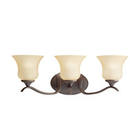Wedgeport 3 Light 24 inch Olde Bronze Bath Vanity Wall Light in Umber Etched Glass
