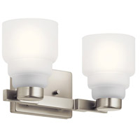 Kichler 55011NI Vionnet 2 Light 15 inch Brushed Nickel Vanity Light Wall Light in Satin Etched Glass