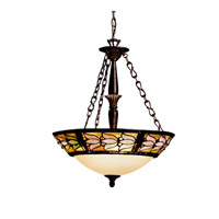 Kichler Lighting Art Glass 3 Light Inverted Pendant in Tannery Bronze w/ Gold Accent 65212