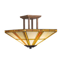 Kichler Lighting Art Glass 2 Light Semi-Flush in Dore Bronze 69013