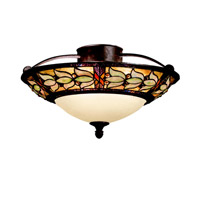 Kichler Lighting Art Glass 3 Light Semi-Flush in Tannery Bronze w/ Gold Accent 69045