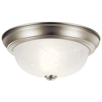 Kichler 8108NI Signature 2 Light 11 inch Brushed Nickel Flush Mount Ceiling Light