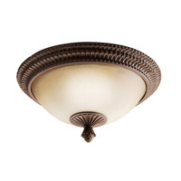 Kichler Lighting Larissa 2 Light Flush Mount in Tannery Bronze w/ Gold Accent 8414TZG