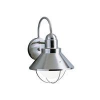 Kichler Lighting Seaside 1 Light Outdoor Wall Lantern in Brushed Nickel 9023NI