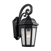 Kichler 9033BKT Courtyard 1 Light 18 inch Textured Black Outdoor Wall Lantern