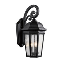 Kichler 9034BKT Courtyard 3 Light 22 inch Textured Black Outdoor Wall Lantern