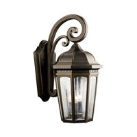 Kichler Lighting Courtyard 3 Light Outdoor Wall Lantern in Rubbed Bronze 9034RZ photo thumbnail