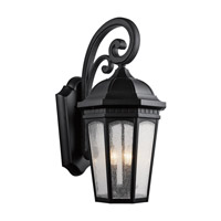 Kichler 9035BKT Courtyard 3 Light 27 inch Textured Black Outdoor Wall Lantern