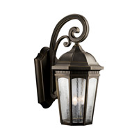 Kichler Lighting Courtyard 3 Light Outdoor Wall Lantern in Rubbed Bronze 9035RZ photo thumbnail