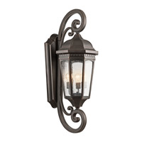 Kichler 9060RZ Courtyard 3 Light 41 inch Rubbed Bronze Outdoor Wall Lantern