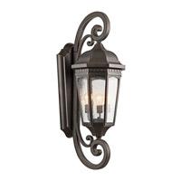 Kichler 9060RZ Courtyard 3 Light 41 inch Rubbed Bronze Outdoor Wall Lantern