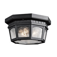 Kichler 9538BKT Courtyard 3 Light 12 inch Textured Black Outdoor Flush & Semi Flush Mount