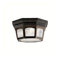 Courtyard 3 Light 12 inch Rubbed Bronze Outdoor Flush Mount
