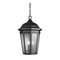 Kichler 9539BKT Courtyard 3 Light 12 inch Textured Black Outdoor Hanging Pendant