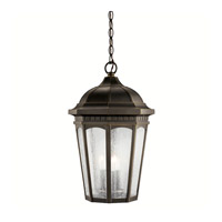 Kichler 9539RZ Courtyard 3 Light 12 inch Rubbed Bronze Outdoor Pendant