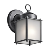 Kichler 9611BKS Signature 1 Light 8 inch Black Outdoor Wall Mount in Satin Etched Glass