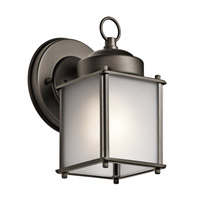 Kichler 9611OZS Signature 1 Light 8 inch Olde Bronze Outdoor Wall Mount in Satin Etched Glass