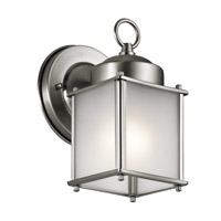 Kichler 9611SSS Signature 1 Light 8 inch Stainless Steel Outdoor Wall Mount in Satin Etched Glass