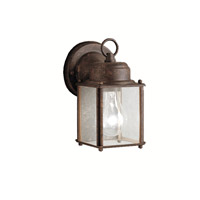 Signature 1 Light 8 inch Tannery Bronze Outdoor Wall Lantern in Clear Glass