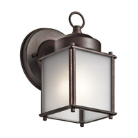 Signature 1 Light 8 inch Tannery Bronze Outdoor Wall Mount in Satin Etched Glass