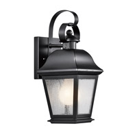 Kichler Lighting Mount Vernon 1 Light Small Outdoor Wall Lantern in Black 9707BK