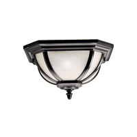 Kichler 9848BK Salisbury 2 Light 14 inch Black Outdoor Flush Mount in White Linen Glass