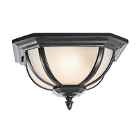 Kichler Lighting Ralston 2 Light Outdoor Flush Mount in Black (Painted) 9848BKS