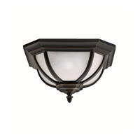 Salisbury 2 Light 14 inch Rubbed Bronze Outdoor Flush Mount in White Linen Glass