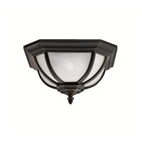 Kichler 9848RZ Salisbury 2 Light 14 inch Rubbed Bronze Outdoor Flush Mount in White Linen Glass