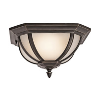 Kichler 9848RZS Ralston 2 Light 14 inch Rubbed Bronze Outdoor Flush Mount in Satin Etched White Glass
