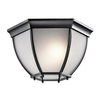 Kichler 9886BKS Signature 2 Light 12 inch Black Outdoor Ceiling Mount in Satin Etched Glass