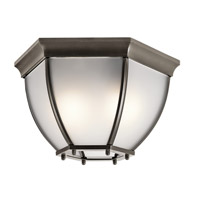 Kichler 9886OZS Signature 2 Light 12 inch Olde Bronze Outdoor Ceiling Mount in Satin Etched Glass